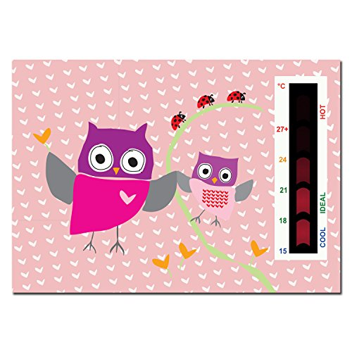 Baby Pink Owl And Ladybird Nursery Room Safety Temperature Thermometer Monitor With New Moving Line Technology By Baby Safe Ideas