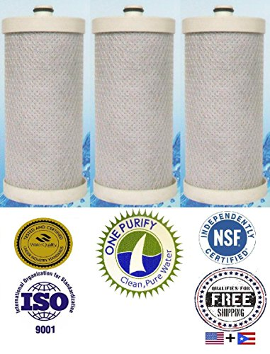 3 Pack - Onepurify Water Filter To Replace Brita, Frigidaire, Electrolux, Pure Source Plus, Kenmore, Sears, Frrf-100, Wfb, Wf1Cb, Wfcb, Wfcb12, Wfcb18, Wfcb20, Swfb, Swf1Cb, Swfcb, Wf284, 218710901, 218710902, 218717805, 218732306, 218904501, 218904602, 2 front-617566