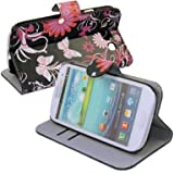 (TRAIT) Black Back Butterfly PU Leather Wallet Cases Protective Skin Protector Covers for Samsung i9300 Galaxy S3 Flip Case Folio Cover Stand Holder with Card Port