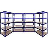 4 x 90cm Blue Greenhouse Storage Racks Bays / Garage Shelving / Shed / Utility
