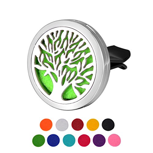 HOUSWEETY Car Air Freshener Aromatherapy Essential Oil Diffuser - Tree of Life Stainless Steel Locket,11 Refill Pads (Drive Air Freshener compare prices)