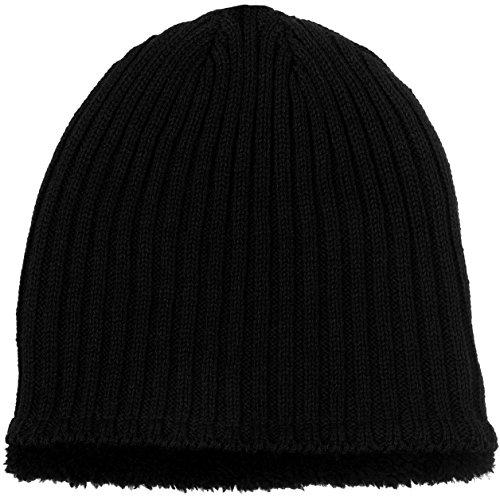 Polar Wear Men's Sherpa Fleece Lined Knit Beanie (Black)