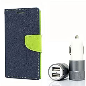 Aart Fancy Diary Card Wallet Flip Case Back Cover For Mircomax A117 - (Blue) + Dual ports USB car Charger With Ultra Power Technolgy by Aart Store.