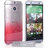 Yousave Accessories Die Neu HTC One M8 (2014) Hülle Rot / Klare Regentropfen Hart Schutzhülle