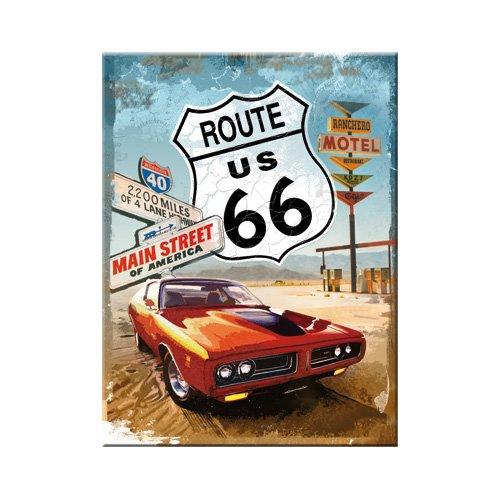 nostalgic-art-14229-us-highways-route-66-red-car-calamita-8-x-6-cm