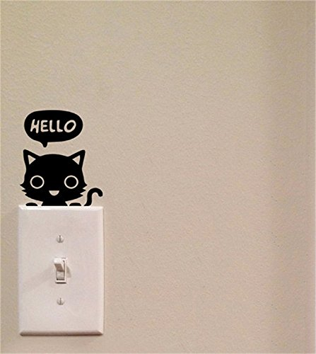 Yingkai hello cat light switch cute vinyl wall decal for Living room 5x3