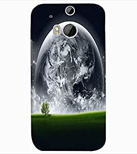 ColourCraft Moon View Design Back Case Cover for HTC ONE M8