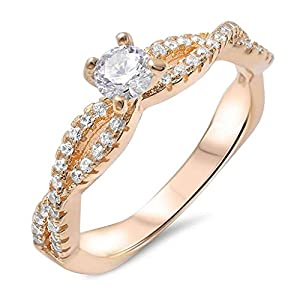 Wedding Ring Clear Cubic Zirconia Silver Yellow Gold Tone Infinity Engagement Band Size 5