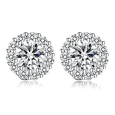 "Bamoer Cubic Zirconia Flower Design 3/8"" Stud Earrings with White & Rose Gold Plated Setting"