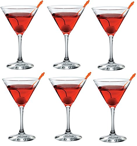 Set of 6 Glass Martini Glasses Cocktail Glasses 170ml by Bormolioli