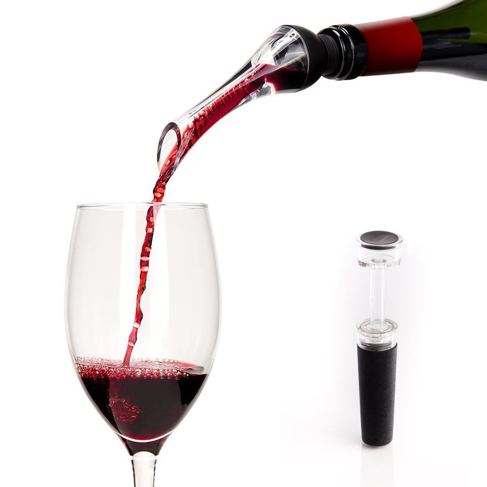 Wine Aerator Pourer - Wine Spout - Elegant Wine Dispenser - Gift Set Accessories for Men with Mini Wine Pump and Storage Bag included