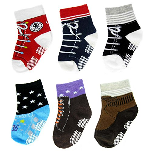 KF Baby Non Skid Baby Boy Shoe Socks 6 pairs for 12 18