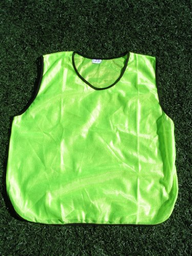 12 Bright Yellow Youth Practice Jerseys Pinnies Bibs 100 Polyester for Ages 5 9 and 10 15 Kids 5 9