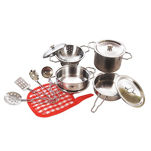 Kidami Kitchen Pretend Toys Stainless Steel Cookware Playset with Varieties of Pots and Pans and Cooking Utensils For Kids (13 pieces) (Children Pot And Pans compare prices)