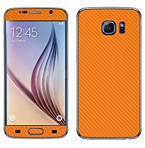 STICK_ME Carbon Fiber Full Mobile Skin Decal for Samsung Galaxy S6 - Orange