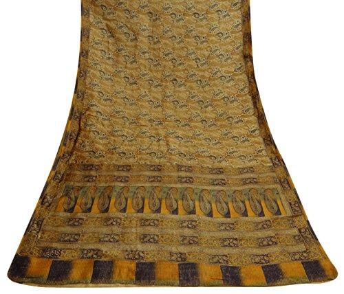 indian-saree-ethnique-vintage-polyester-paisley-printed-sari-yellow-craft-tissu