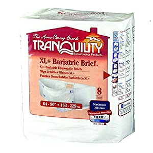 Tranquility Bariatric Fitted Briefs Size XL+ Case/32 (4 bags of 8)