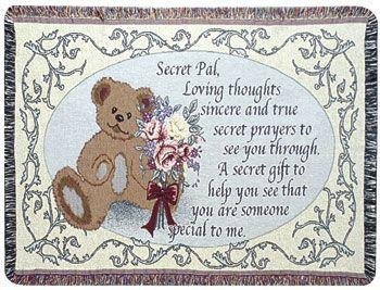 """Secret Pal"" Teddy Bear Get Well Inspirational Afghan Throw Blanket 40"" X 50"" front-1076324"
