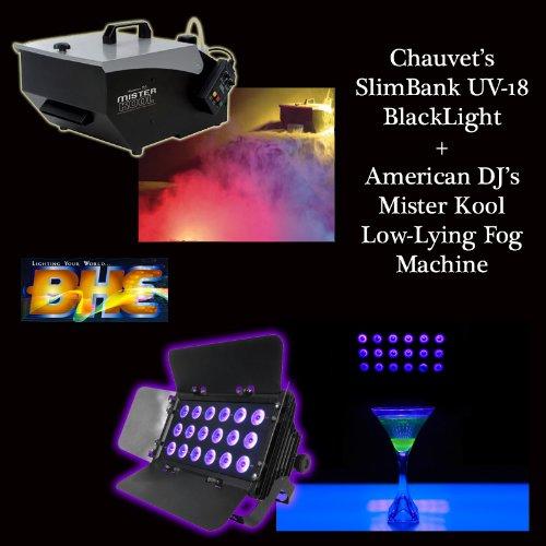 Halloween Pack Adj Mister Kool Fog Machine And Chauvet Lighting Slimbank Uv18 Black Light