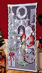Lighted Santa Claus Christmas Curtain Panel