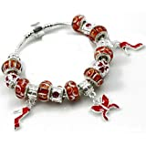 Pandora compatible Red Heels and Butterfly Charms with Red Murano Glass Beads Charm Bracelet