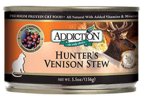 Addiction Hunter's Venison Stew w/ Cranberries, Grain-Free Canned Cat Food, 5.5 Ounces (Single Can)