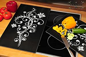 premium hob 1 piece set of black herdabdeckung splatter guard oven panel glass stove cover. Black Bedroom Furniture Sets. Home Design Ideas