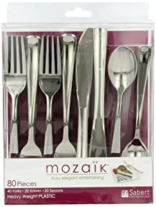 Mozaik Combo Cutlery Set, (40 Forks, 20 Knives, 20 Spoons), 80-Count Plastic Cutlery by Mozaik