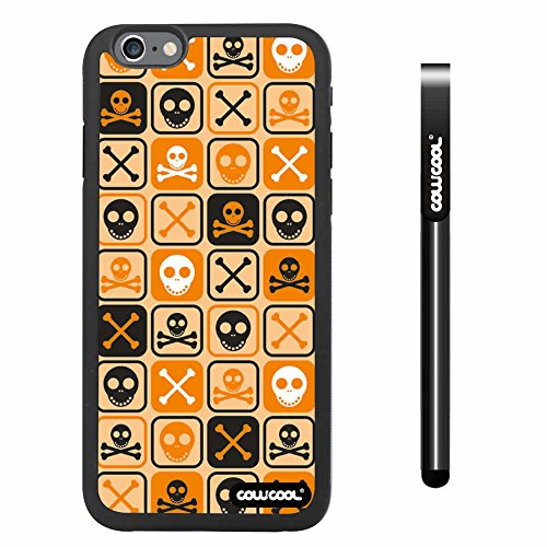 Cowcool® Apple Iphone 6 4.7 Inch Soft Silicone Cross Matrix Cute Skull With Black Shell Single Layer Protective Case (Light Orange)