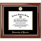 University of Phoenix - Gold Medallion - Mahogany Gold Trim - Diploma Frame