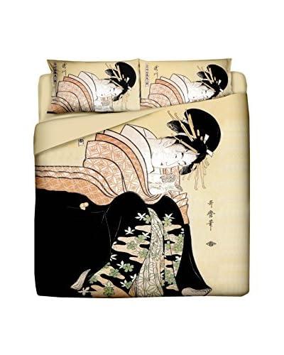 JAPAN MANIA by MANIFATTURE COTONIERE Juego De Funda Nórdica Lettera D'Amore Beige/Multicolor