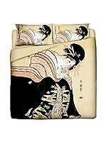 JAPAN MANIA by MANIFATTURE COTONIERE Juego De Funda Nórdica Lettera D'Amore (Beige/Multicolor)