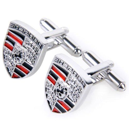 NEW Design Silver Porsche Shield Cufflinks Logo Cuff Links Gift