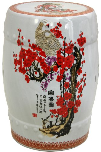 "Beautiful Wedding Gift Idea - 18"" Cherry Blossom Chinese Porcelain Garden Stool - Barrel Shape"