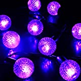 M&T Tech 30 LED Round Ball Solar Powered Garden String Fairy Lights For Outdoor Party Patio Lawn Fence pergolas Christmas-Purple