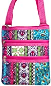 Patchwork Print with Hot Pink Trim Small Hipster Cross Body