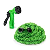 IREKO GH50 Expandable Lawn Garden Hose 50 Foot Car Washing Watering Plants Auto Wash Cleaning 7-way Spray Nozzle Hose, Green