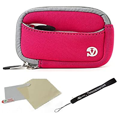 Pink - Grey Trim Slim Protective Soft Neoprene Cover Carrying Case Sleeve with Extra Pocket for Compact sizes Point and Shoot Digital Cameras Coupon 2015