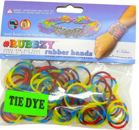 Rubbzy 100 pc Tie Dye Rubber Bands - Red, Yellow Blue and Green (#913)