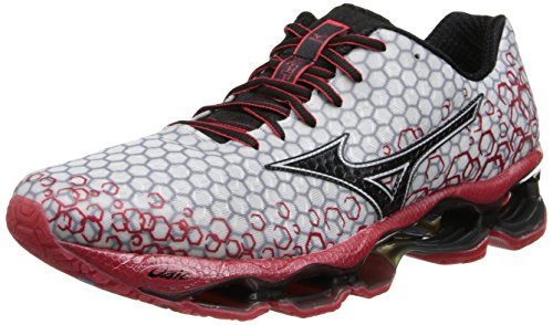 Mizuno Men's Wave Prophecy 3 Running Shoe,White/Chinese Red/Black,8 M US (Mizuno Running Shoes Prophecy compare prices)