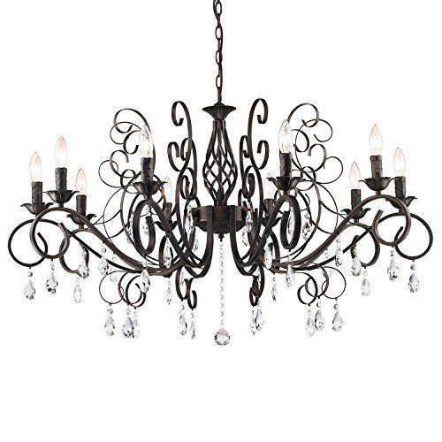 CLAXY Ecopower Vintage Wrought Iron 10-lights Chandelier with Crystal Dangle 0