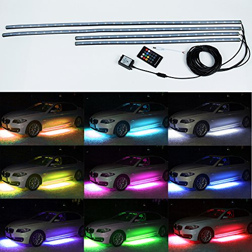 4 pcs Mihaz High Intensity LED Car Underglow Underbody System Led knight rider light RGB Colors Running Strip Light 60-90cm + Wireless Remote Control Sound Active Function(90-120cm) (Car Color Led Lights compare prices)
