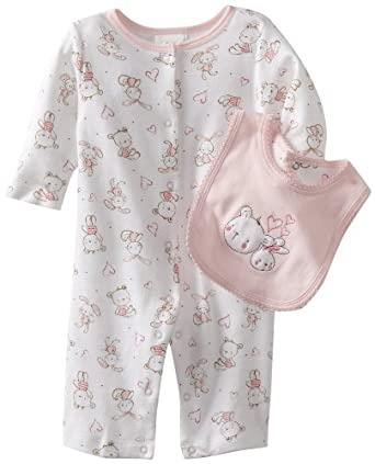 ABSORBA Baby-Girls Newborn Print Coverall With Bib, Pink, 6-9 Months