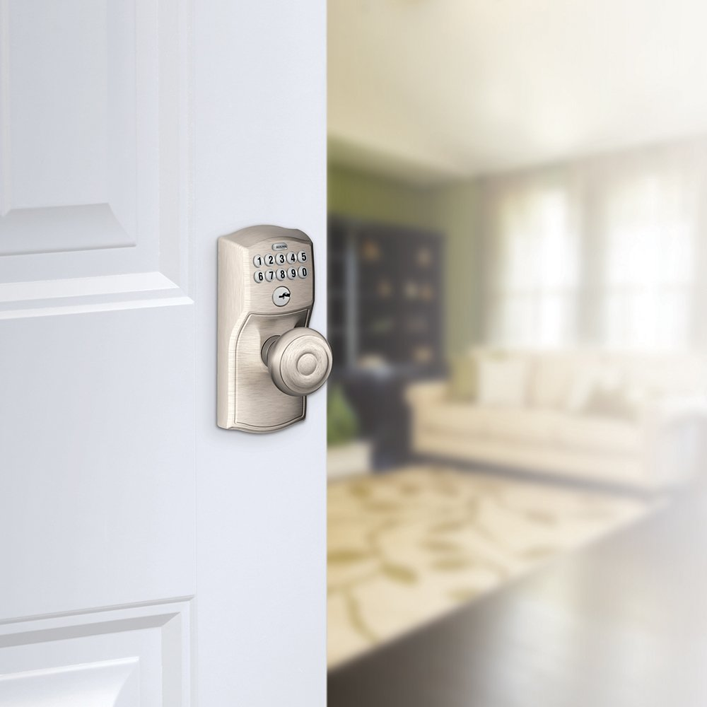 Schlage FE595 V CAM 619 GEO Camelot Keypad Entry with Flex-Lock and Georgian Style Knobs, Satin Nickel