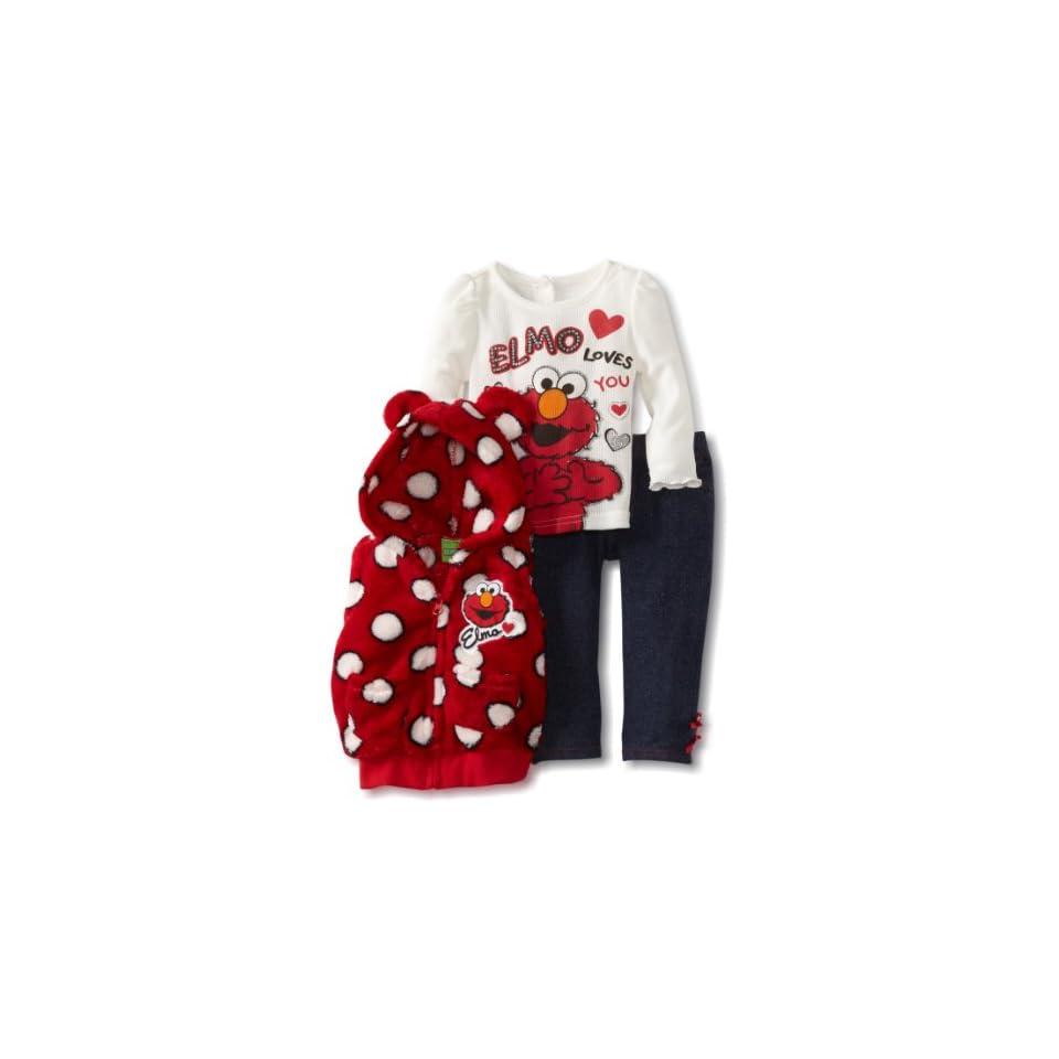 Sesame Street Baby Girls 3 Piece Elmo Loves You Vest Set, Red, 18 Months