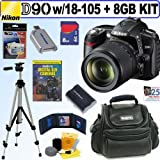 Nikon D90 12.3MP Digital SLR Camera With 18-105 G ED VR DX Nikkor Lens + 8GB DLX Accessory Kit