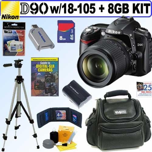 Nikon D90 - Digital camera - SLR - 12.3 Mpix - Nikon AF-S DX 18-105mm lens - optical zoom: 5.8 x - supported memory: SD, SDHC