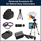 Advanced Accessory Kit for Sony HDR-PJ260V/HDR-PJ200/HDR-CX260V/HDR-CX580V/HDR-XR160/HDR-PJ710V/HDR-PJ760V/HDR-CX760V Camcorders. Package Includes: Replacement NP-FV70 Battery Pack, Rapid Travel Charger, 3 Piece Filter Kit(UV-CPL-FLD), 32GB Memory Card, Memory Card Reader, HDMI Cable, Large Carrying Case, Full Size Tripod, Table Top Tripod, LCD Screen Protectors & Cleaning Kit.