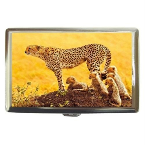 New Cheetah And Babies Custom Business Name Card Money Credit Card Holder Box Case front-385674