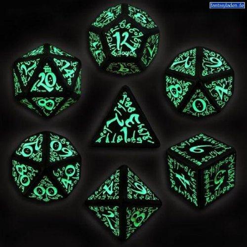Simply Amazing! Q-Workshop Polyhedral 7-Die Set: Glow In Dark Carved Elvish Dice Set (Elven) Black With Glow-In-The-Dark Numbers